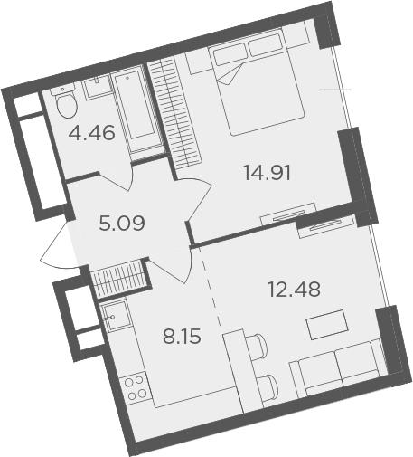 2Е-к.кв, 45.09 м²