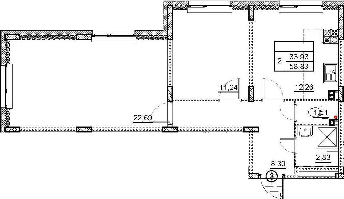 2-комнатная квартира, 58.83 м², 1 этаж – Планировка