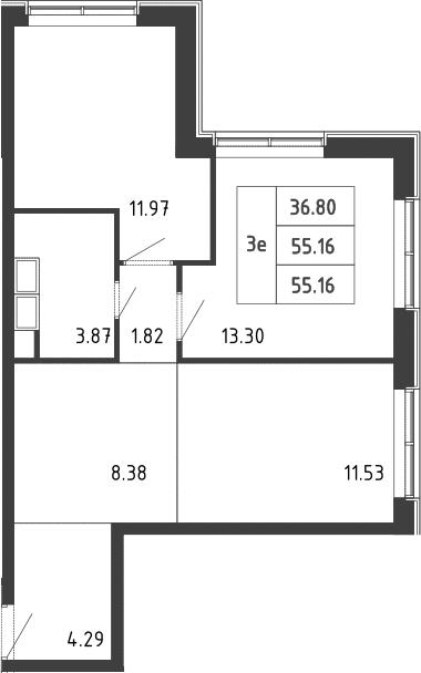 3-к.кв (евро), 55.7 м²