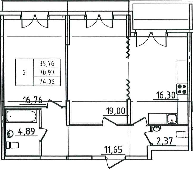 3-к.кв (евро), 79.26 м²