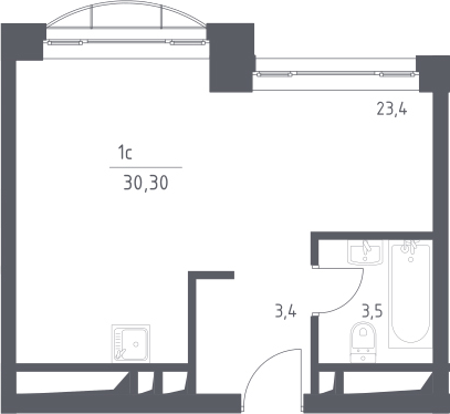 Студия, 30.3 м²– 2