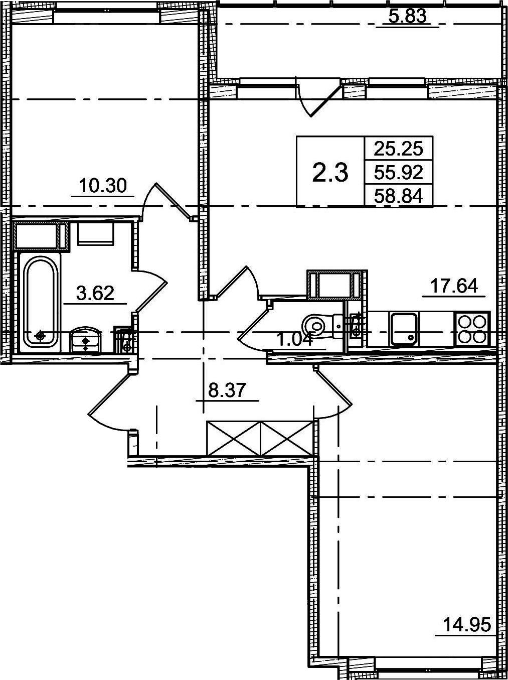 3Е-к.кв, 55.92 м²
