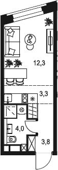 Студия, 23.4 м²
