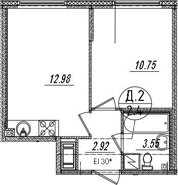2-к.кв (евро), 30.2 м²