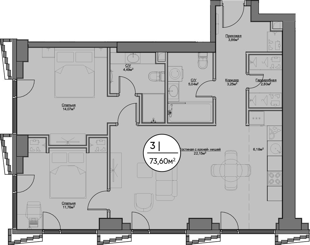 3Е-к.кв, 73.6 м²
