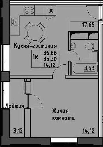 1-комнатная, 36.86 м²– 2