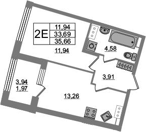 2Е-к.кв, 33.69 м², 4 этаж
