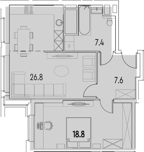 2Е-к.кв, 60.6 м²