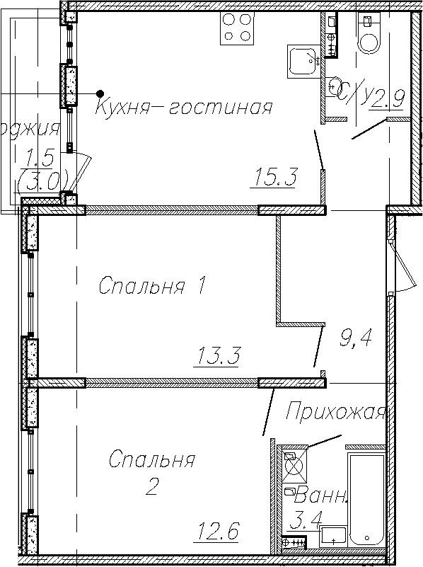 3Е-к.кв, 56.9 м², 1 этаж