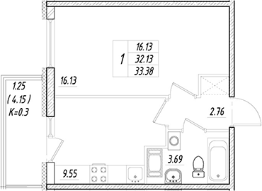 1-к.кв, 32.13 м²