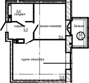 1-к.кв, 44.77 м²