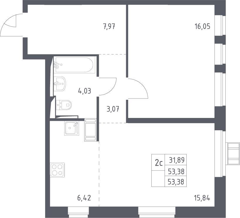 2Е-комнатная, 53.38 м²– 2
