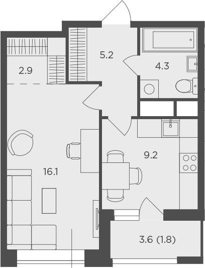 1-к.кв, 39.44 м²