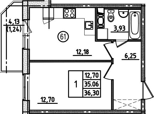1-к.кв, 36.3 м², от 7 этажа