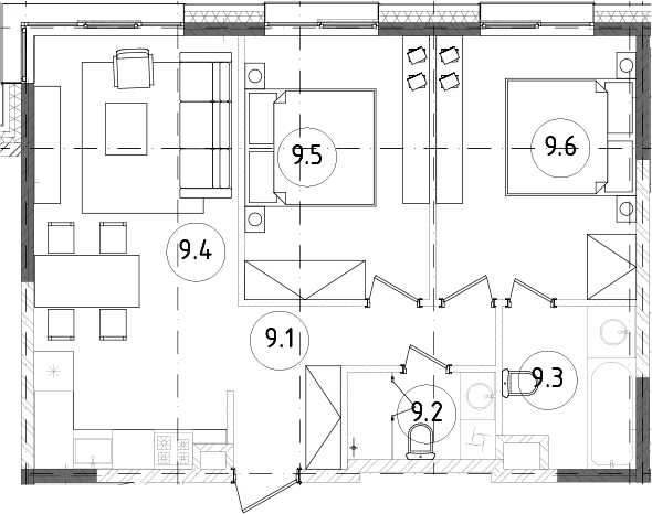 3Е-к.кв, 58.28 м²