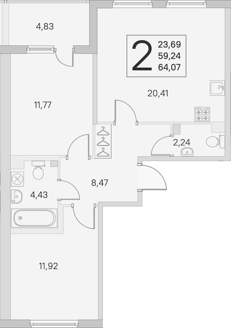 3Е-комнатная, 59.24 м²– 2