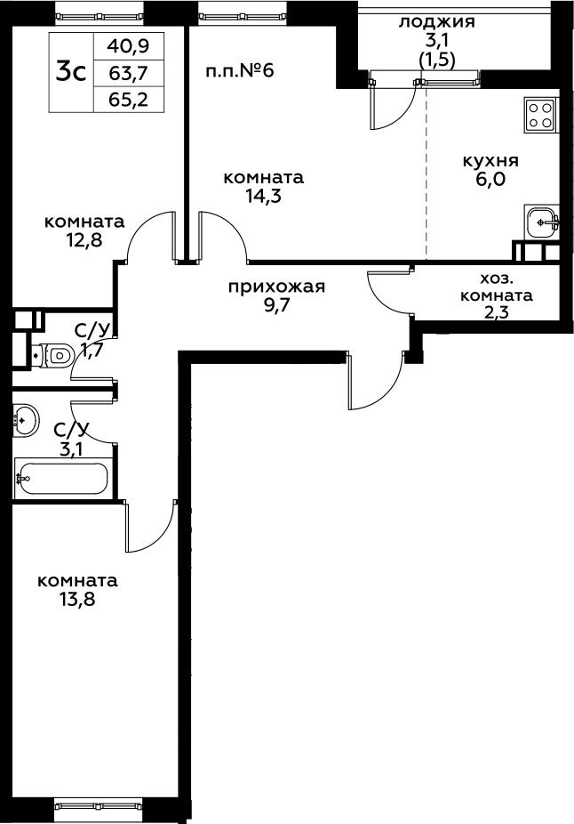 2-к.кв, 66.7 м²