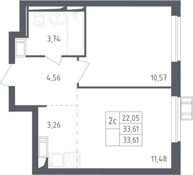 2Е-комнатная квартира, 33.61 м², 17 этаж – Планировка