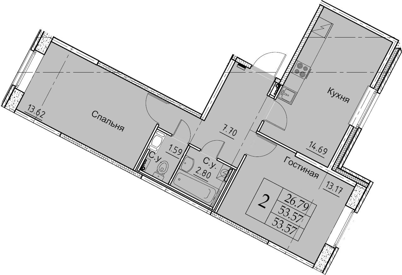2-к.кв, 53.57 м², 1 этаж