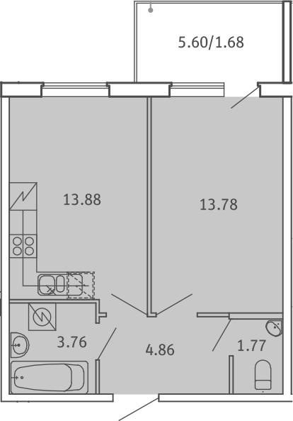 1-комнатная, 39.73 м²– 2