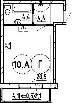 Студия, 31 м²