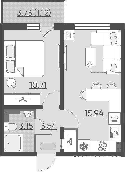 2Е-комнатная, 34.46 м²– 2
