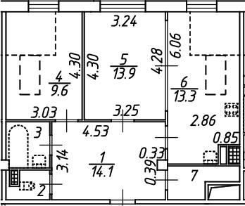 2-комнатная, 58.7 м²– 2
