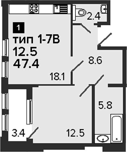 1-к.кв, 50.8 м²