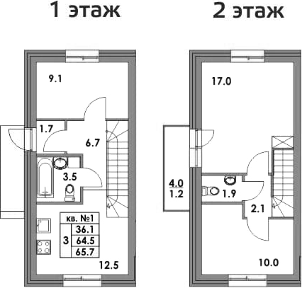 Таунхаусы, 68.5 м²