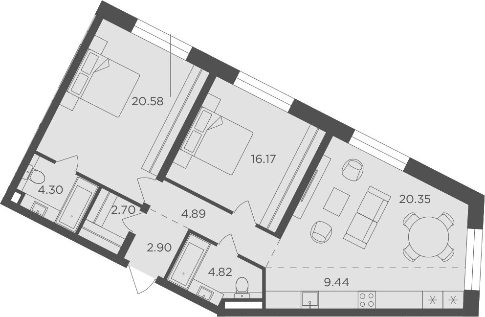 3Е-к.кв, 86.15 м², 12 этаж