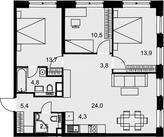 4Е-к.кв, 82.9 м², от 15 этажа
