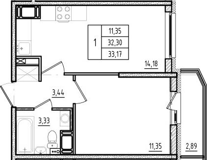 2Е-к.кв, 32.3 м², от 11 этажа