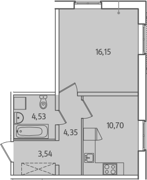 1-комнатная, 39.27 м²– 2