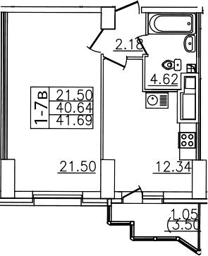 1-комнатная, 41.69 м²– 2