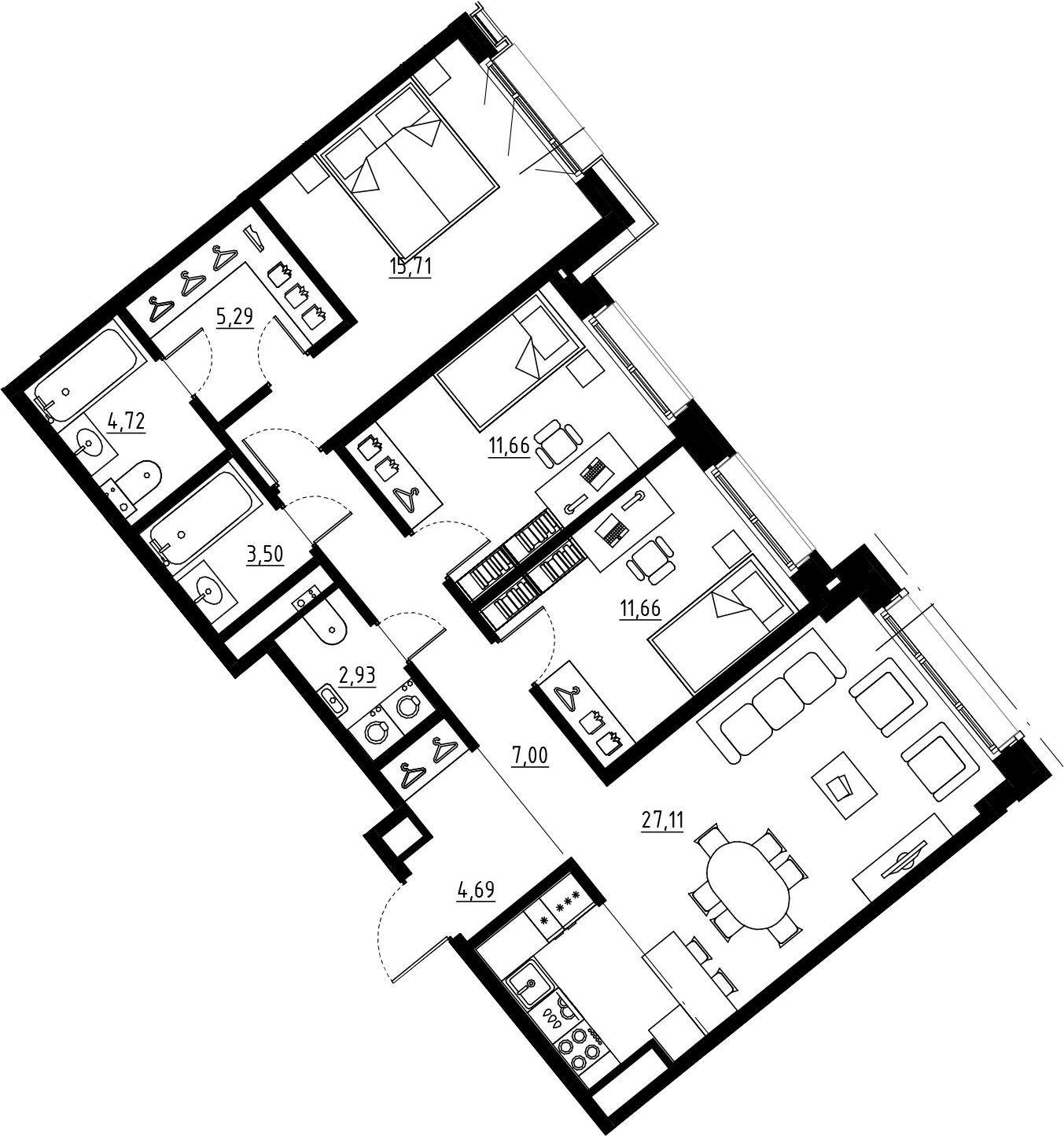4Е-к.кв, 94.27 м², 6 этаж