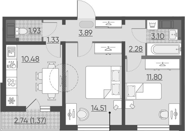 2-комнатная, 50.69 м²– 2
