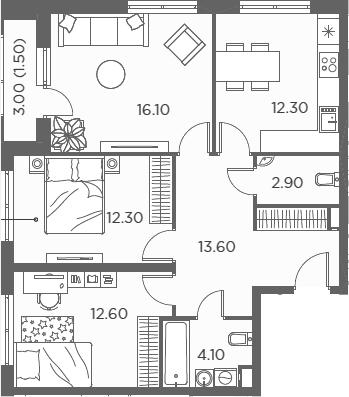 3-комнатная, 75.4 м²– 2