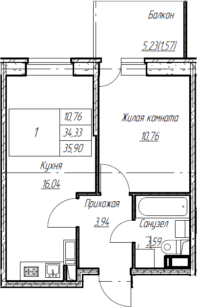 2Е-к.кв, 35.9 м², от 5 этажа