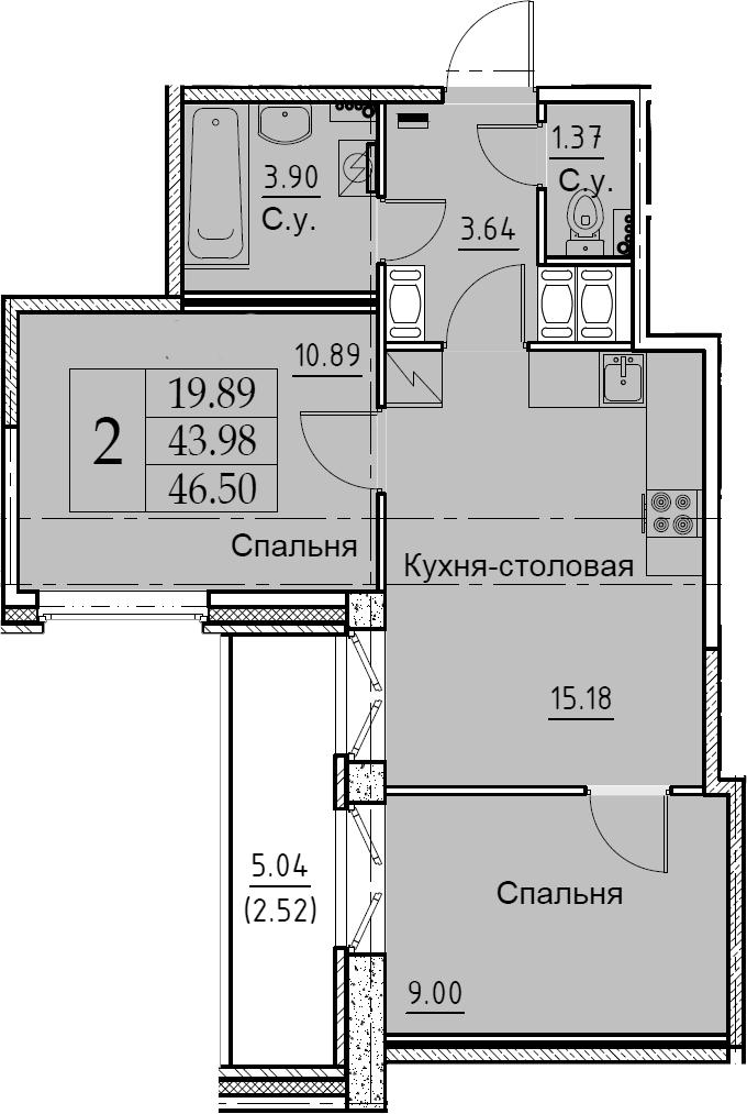 3Е-комнатная, 46.5 м²– 2