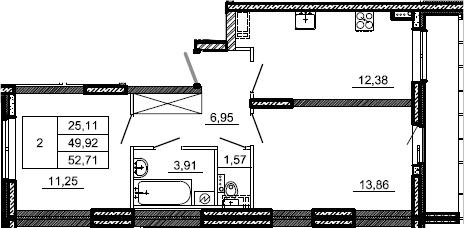 2-к.кв, 52.71 м²