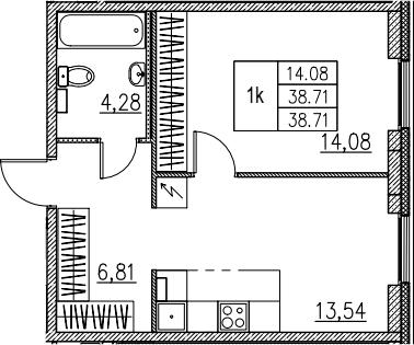 1-комнатная, 38.71 м²– 2