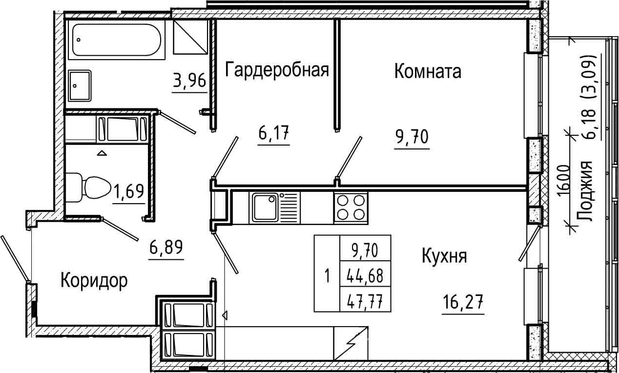 2Е-комнатная, 47.77 м²– 2