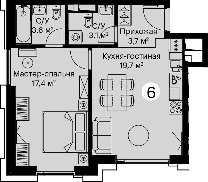 2Е-комнатная, 47.7 м²– 2