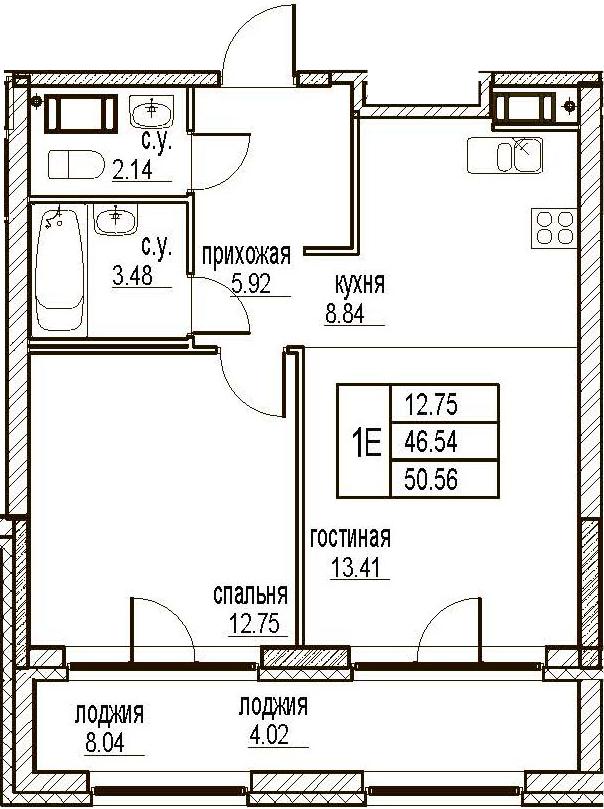 2Е-комнатная, 50.56 м²– 2