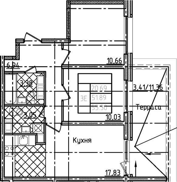 3Е-комнатная, 55.3 м²– 2