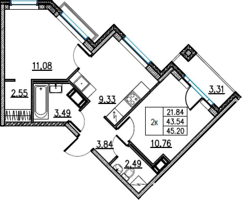 2-комнатная, 45.2 м²– 2