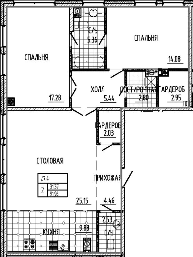 3-к.кв (евро), 91.96 м²