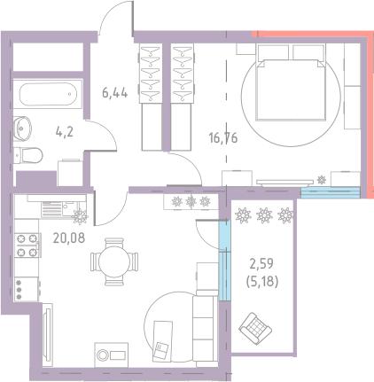 2-к.кв (евро), 53.37 м²