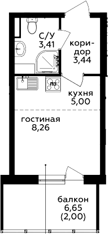Студия, 22.11 м²– 2