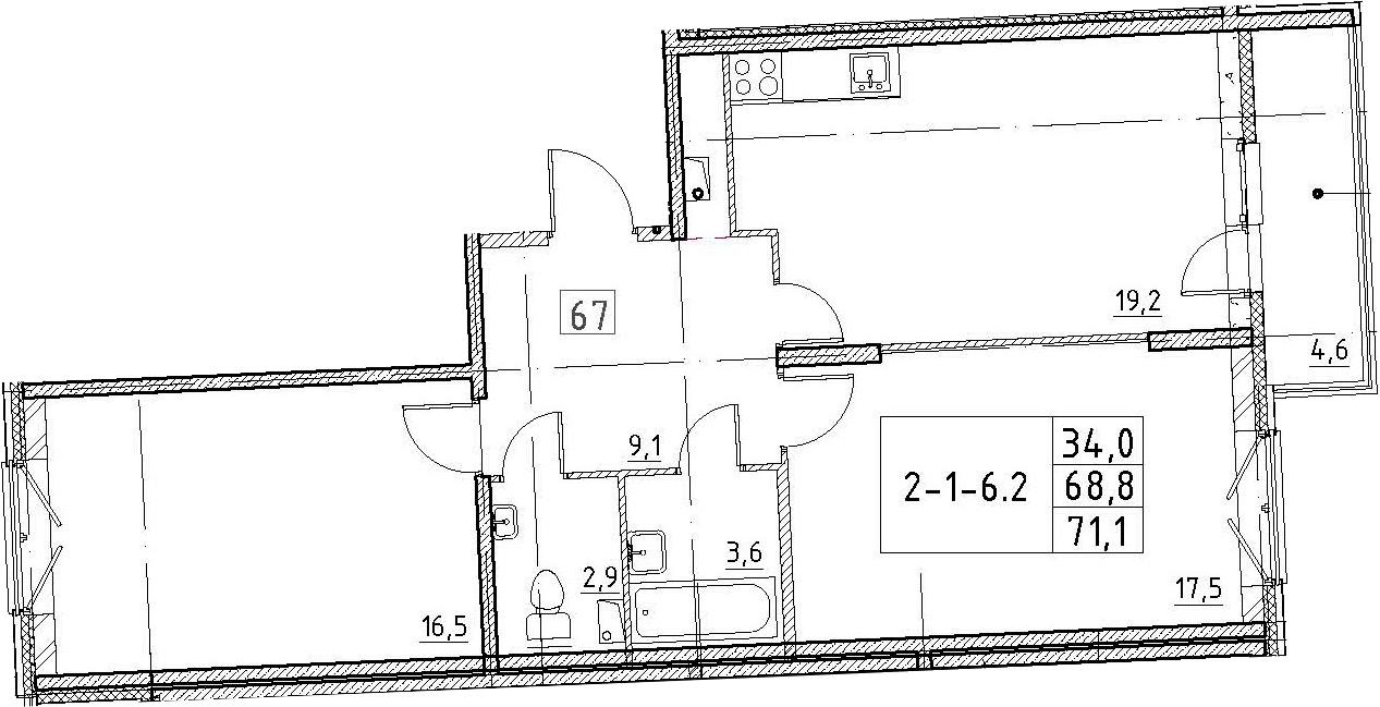 3Е-к.кв, 71.1 м², 2 этаж